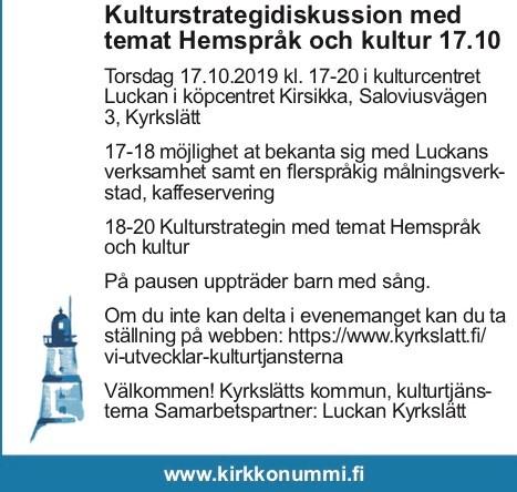 Vill du påverka kulturutbudet på svenska i framtidens Kyrkslätt?